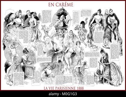 French satirical magazine La vie Parisienne 1888, central page: en carême - fasting. Humor, caricatures, portraits - Stock Photo