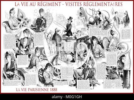 French satirical magazine La vie Parisienne 1888, central page: la vie au régiment - regiment life. Humor, caricatures, - Stock Photo