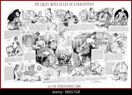 French satirical magazine La vie Parisienne 1888, central page: de quel bois elles se chauffent , humor, caricatures, - Stock Photo