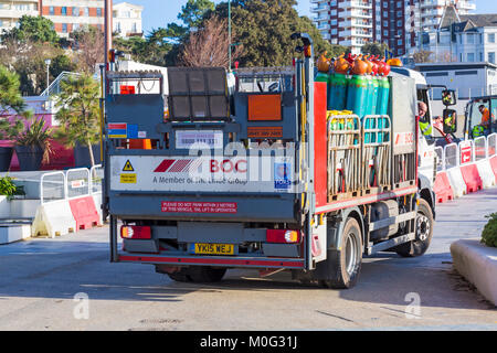 Renovations and resurfacing work at Pier Approach, Bournemouth, Dorset UK in January - vehicle with gas cylinders - Stock Photo