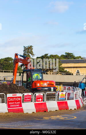 Renovations and resurfacing work at Pier Approach, Bournemouth, Dorset UK in January - Stock Photo