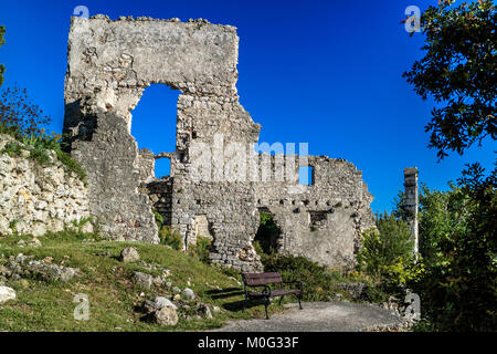 Old ruins by Bijar Bay, Osor. On the Croatian island of Cres by the Adriatic. May 2017. - Stock Photo