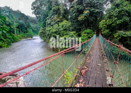 Suspended bridge over the Danum River, Danum Valley, Borneo, Sabah, Malaysia - Stock Photo