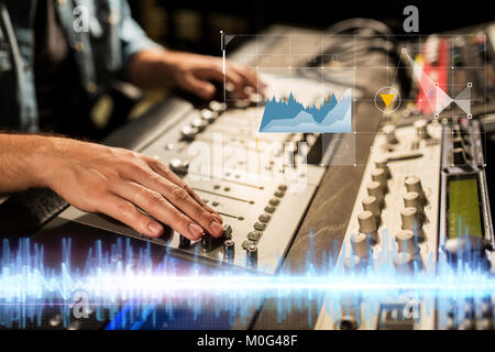 hands on mixing console at sound recording studio - Stock Photo