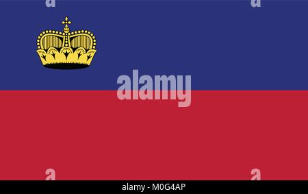 Liechtenstein national flag  - Stock Photo