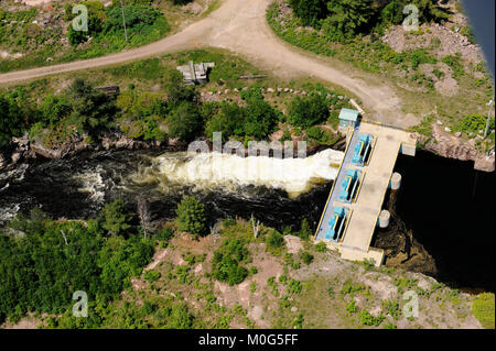 This is an aerial photograph of the portage dam which controls the flow of water between lake Nipissing and the - Stock Photo