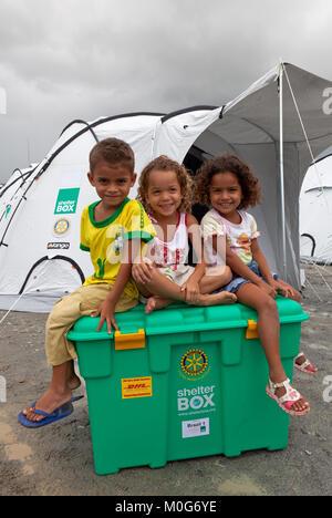 Children from the family who will receive Brazil box no. 1, Camp Brazilia Uno, Uniao Dos Palmares, Alegoas, Brazil - Stock Photo