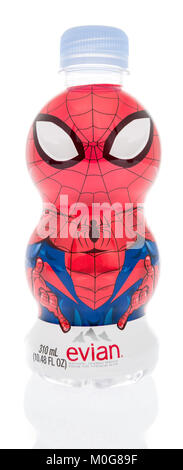 Winneconne, WI - 18 January 2018: A bottle of Evian water featuring Spiderman on an isolated background. - Stock Photo