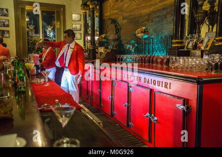 Daiquiris at the famous La Floridita in Old Havana, Cuba - Stock Photo
