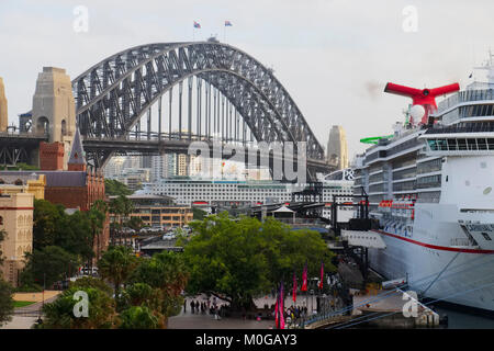 Large cruise ship / liner moored at the Overseas Passengers Terminal in Circular Quay, Sydney, Australia early in - Stock Photo