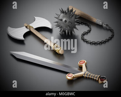 Old Medieval weapons standing on black background. 3D illustration - Stock Photo