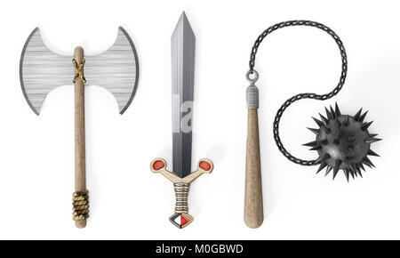 Old Medieval weapons white isolated on wh background. 3D illustration - Stock Photo
