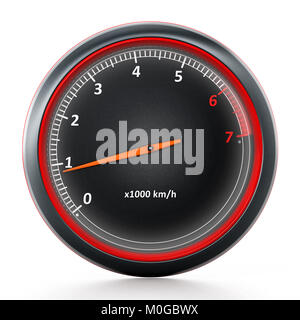 RPM meter isolated on white background. 3D illustration - Stock Photo
