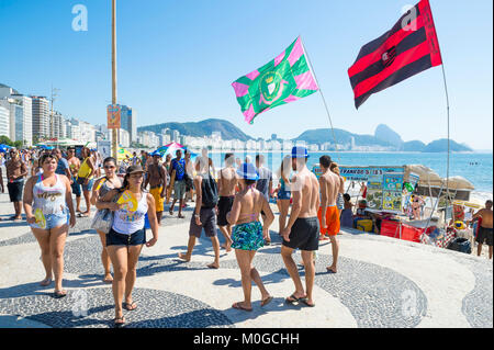 RIO DE JANEIRO - FEBRUARY 19, 2017: Crowds of young people gather at a morning street party during the city's carnival - Stock Photo
