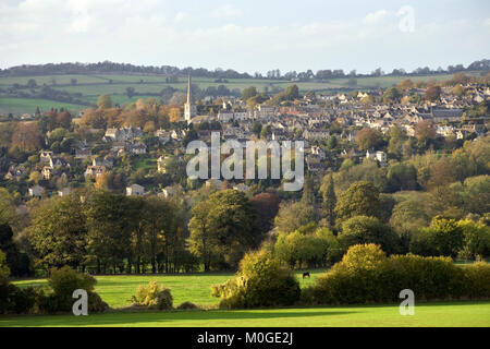 Atmospheric low sun, autumn view from Bulls Cross, Painswick, Cotswolds, Gloucestershire, England, UK - Stock Photo