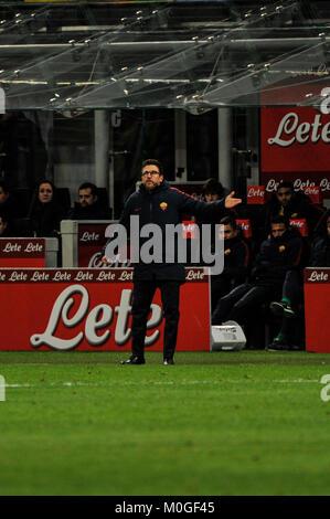 Eusebio Di Francesco head coach of AS Roma  during Serie A football, FC Inter versus AS Roma; San Siro, Milan, Italy; - Stock Photo