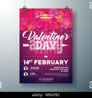 Vector Valentines Day Party Flyer Design with Typography and Heart on Red Background. Celebration Poster Template - Stock Photo