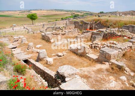 Roman forum. Segobriga Archaeological Park, Cuenca province, Castilla La Mancha, Spain. - Stock Photo