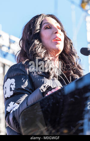 Las Vegas, NV, USA. 21st Jan, 2018. Cher at the WomenÕs March 'Power to the Polls' rally in LAs Vegas, Nevada on - Stock Photo