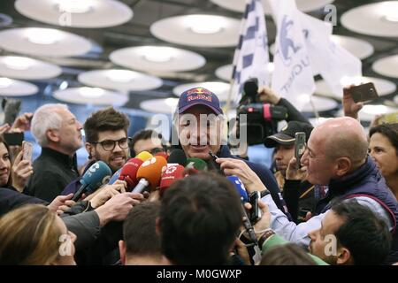 Newly crowned Rally Dakar champion, Spanish rally driver, Carlos Sainz, speaks to the media, at his arrival to the - Stock Photo