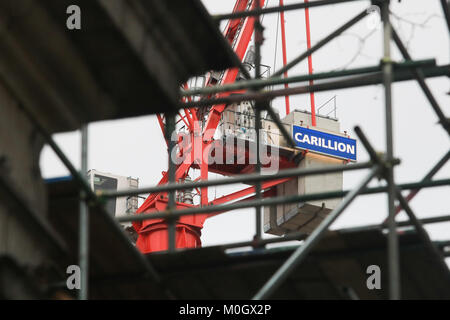 London, UK. 22nd Jan, 2018. The second largest construction company Carillon based in Wolverhampton which employed - Stock Photo