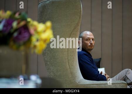 Barcelona, Spain. 22nd Jan, 2018. Colombian writer Antonio Ungar poses for the photographers during the presentation - Stock Photo