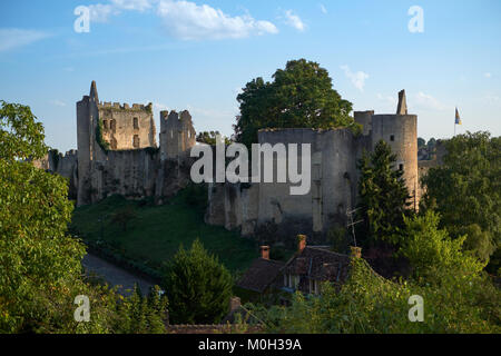 The castle ruins of Angles sur l'Anglin in Vienne France - One of the most beautiful villages in France. - Stock Photo