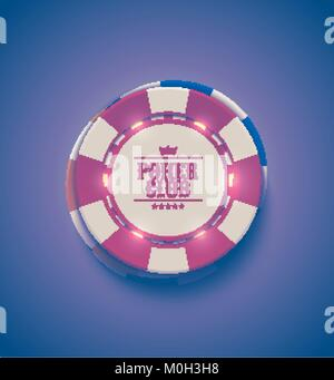 Vector red white casino poker chips with luminous light elements, top view. Retro purple effect. Poker club text, - Stock Photo