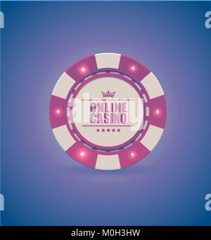 Vector red white casino poker chip with luminous light elements. Purple retro effect background. Poker club text, - Stock Photo