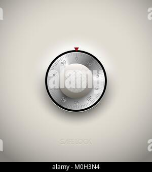 Realistic combination safe lock metal and plastic element on white background. Stainless steel round scale. Vector - Stock Photo