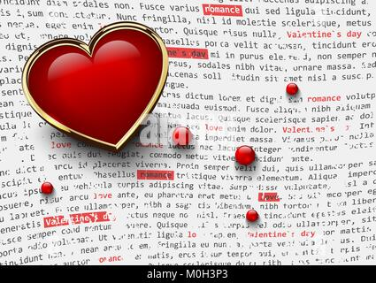 Valentines day white background with glossy red heart in golden frame and glass beads on abstract newspaper text. - Stock Photo