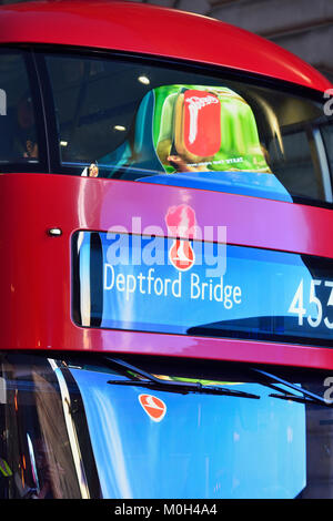 Red Double-decker Bus, Piccadilly Circus, London, United Kingdom - Stock Photo