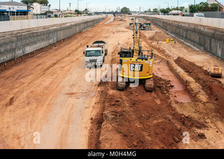 Adelaide, Australia - January 10, 2018: Torrens Road to River Torrens Project under construction view along South - Stock Photo