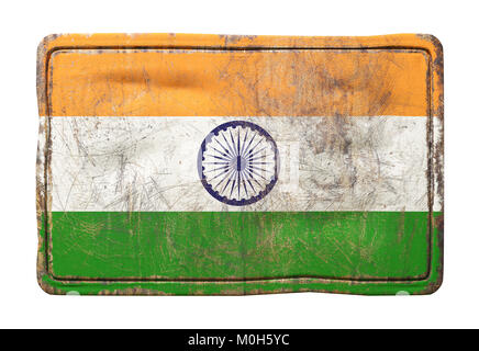 3d rendering of a India flag over a rusty metallic plate. Isolated on white background. - Stock Photo