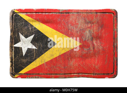 3d rendering of a Timor-Leste flag over a rusty metallic plate. Isolated on white background. - Stock Photo
