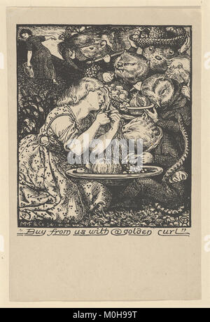 Buy from Us with a Golden Curl (frontispiece to 'Goblin Market and other Poems' by Christina Rossetti) MET DP835742 - Stock Photo