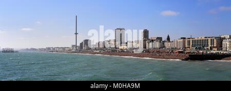 The seaside promenade, Brighton City, Brighton & Hove, Sussex, England, UK - Stock Photo