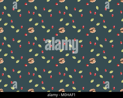 collection of seeds and walnuts isolated on gray - Stock Photo