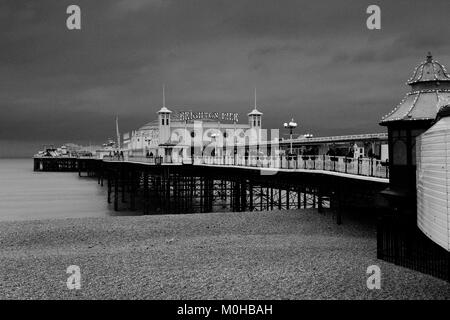 Dramatic skies over the Brighton Palace Pier, Brighton & Hove, East Sussex, England, UK - Stock Photo