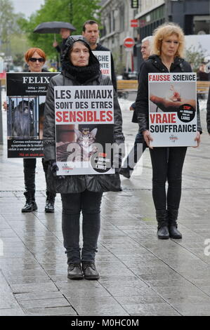 World animal Day: Animals rights defenders protest in Lyon, France - Stock Photo