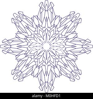 Abstract outline of vector snowflake in blue tones for coloring or coloring book. - Stock Photo