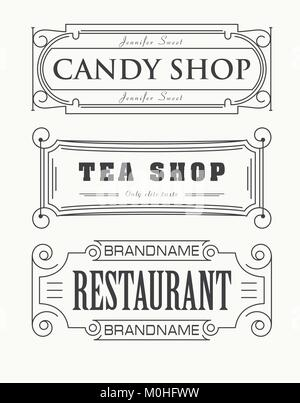 Set of 3 decorative stylish labels of Candy Shop, Tea Shop and Restaurant can by used as shield or logotype - Stock Photo