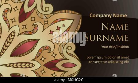 Visiting card, banner, ornate floral template with space for text on a black background in gold tones. - Stock Photo
