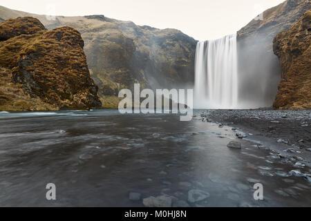 Icelandic landscape of waterfall - Stock Photo