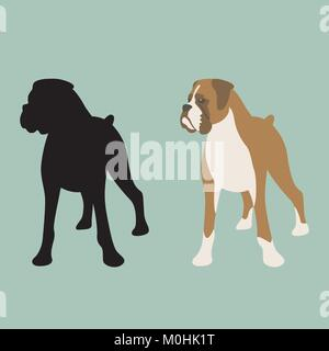 dog boxer  vector illustration flat style front view silhouette - Stock Photo