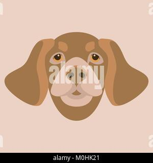 dog head flat style vector illustration front side - Stock Photo