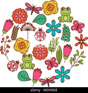 set of spring theme nature flowers love birds butterflies ladybugs frog dragonfly