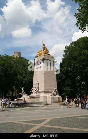 USS Maine National Monument, 59th Street and Central Park West, Columbus Circle in Manhattan Borough, New York City, - Stock Photo