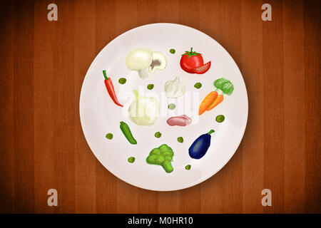 Colorful plate with hand drawn icons, symbols, vegetables and fruits on grungy background - Stock Photo