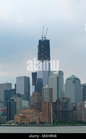 One World Trade Center (AKA 1 World Trade Center, One WTC, 1 WTC and Freedom Tower) still under construction July - Stock Photo